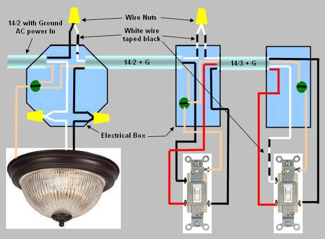 3 Way Switch Installation Circuit Style 2