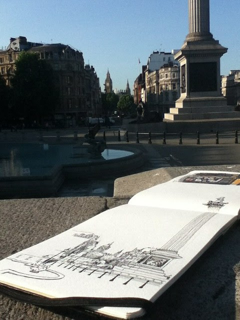 Sketching London in the early morning
