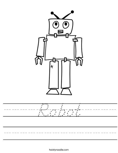 Robot Worksheet - D'Nealian - Twisty Noodle