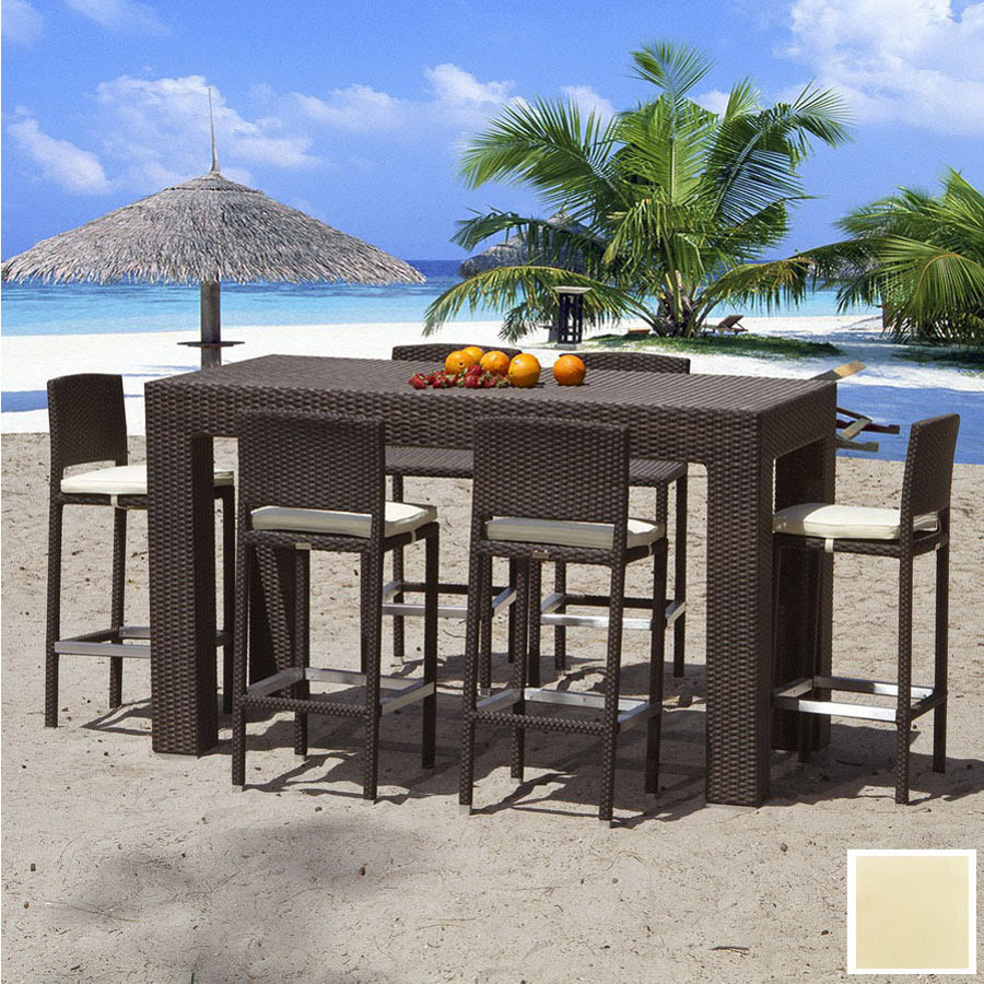 Shop Source Outdoor 7-Piece Zen Aluminum Patio Bar-Height ...