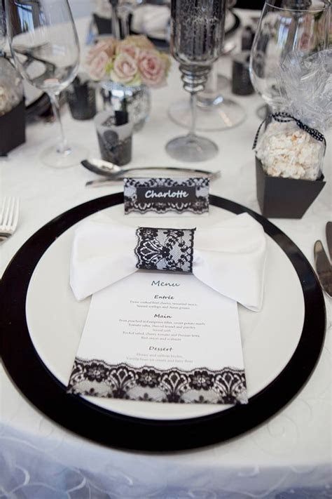 Black lace wedding table napkin rings, menu, place cards