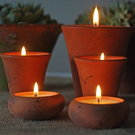 Terracotta Pots With Candles   Rustic Wedding Ideas