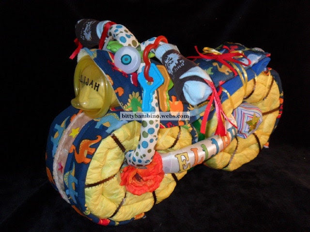 Motorcycle Diaper Cake - Diaper Motorcycle - Deluxe Model with Handmade Baby Gift Set