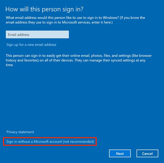 Elija agregar una cuenta que no sea de Microsoft