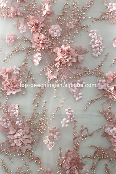 2016 bead embroidery 3d lace fabric/3d flower lace