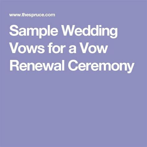 Sample Wedding Vows for a Vow Renewal Ceremony   Sample