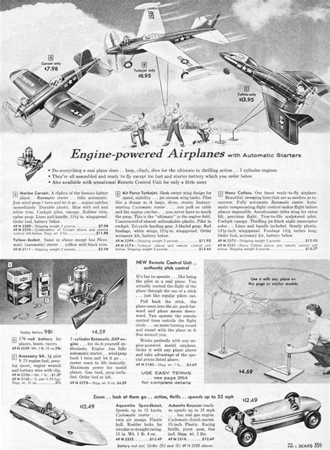 Model Airplanes from Sears and JCPenny Christmas Wish