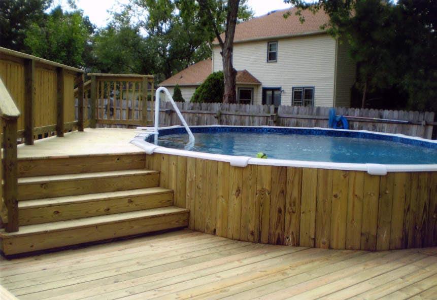 Semi Inground Pool Deck Ideas Backyard Design Ideas