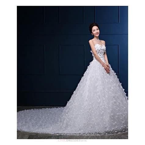 Ball Gown Wedding Dress   White Cathedral Train Strapless