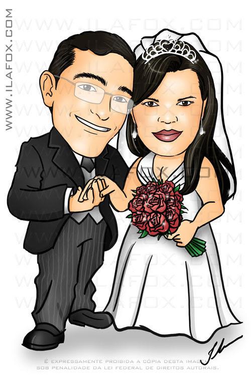 caricatura casal noivos colorida, corpo inteiro, noivinhos Andrea e Claudinei, caricatura para casamento, by ila fox