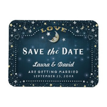 Teal Moon & Stars Save The Date Magnet by juliea2010 at Zazzle