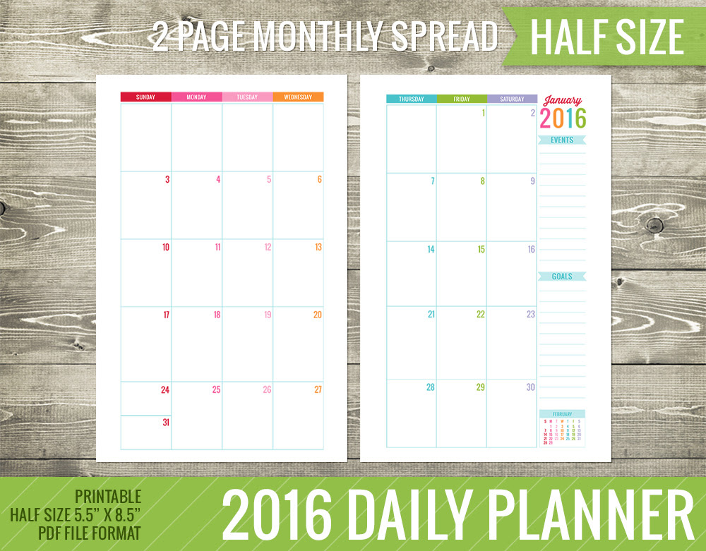 6 Best Images of Monthly Calendar 2015 2016 Printables Planner 5.5 ...
