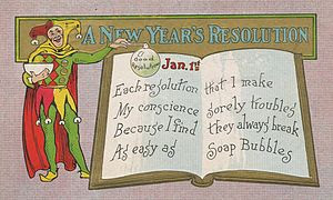 New Year's Day postcard mailed in 1909. It rea...