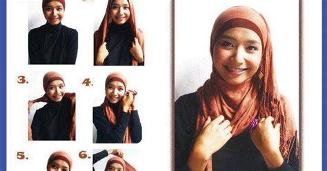 memakai jilbab cantik kreasi modern pashmina pehek