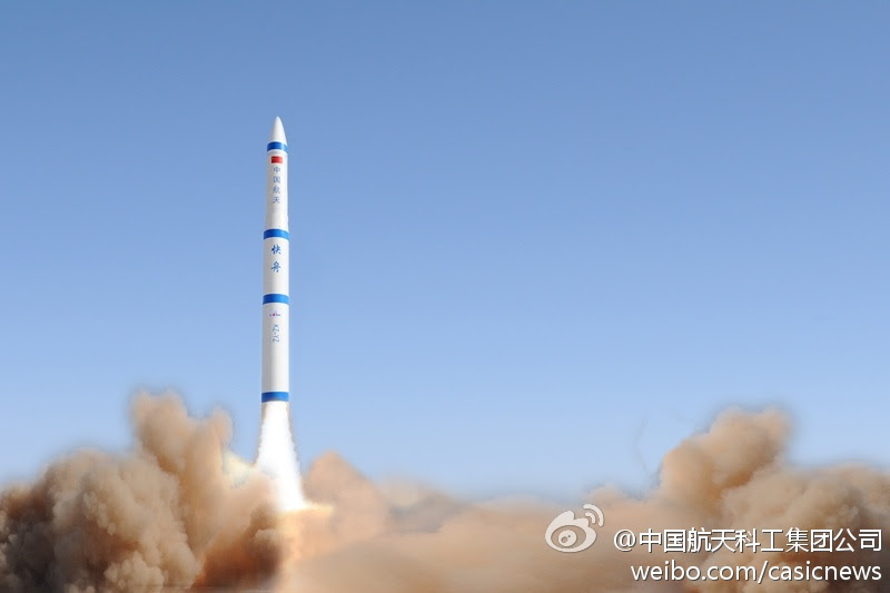 A file photo -- apparently edited -- posted on Chinese social media of a Kuaizhou rocket launch. Credit: CASIC via Weibo