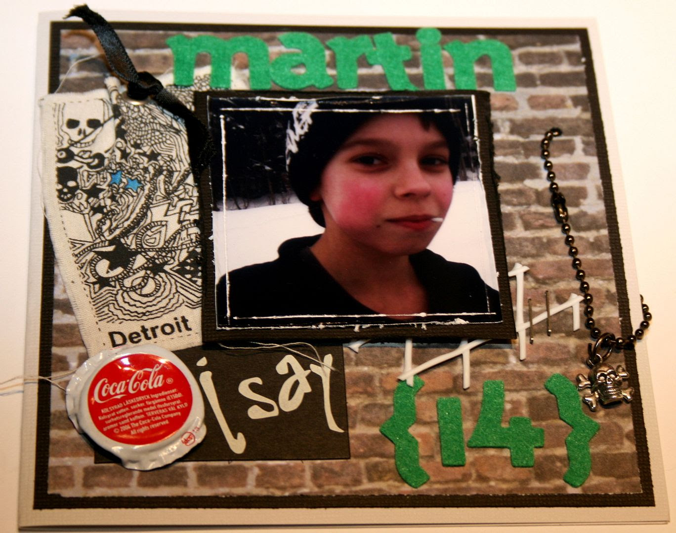 Forsiden av kortet til Martin 14 år