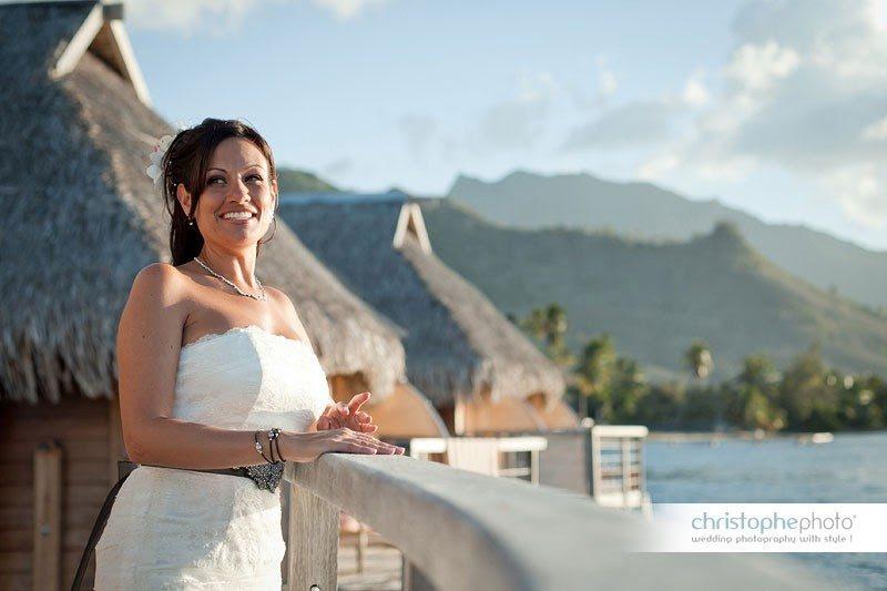 bride looking at the island of moorea