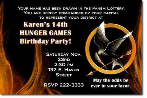 Hunger Games Birthday invitations, Candy Wrappers, Thank