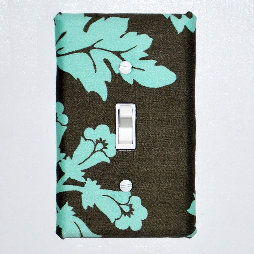 Light Switch Plate Cover - dark green with light blue floral and leaf details, wall decor, home decor, nature, flower, leaves
