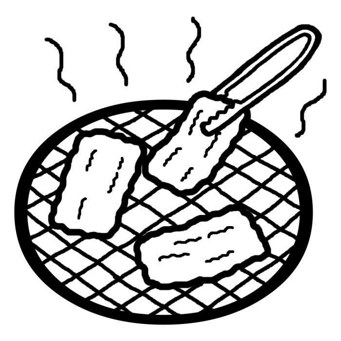 焼肉白黒料理15食べ物無料イラスト素材