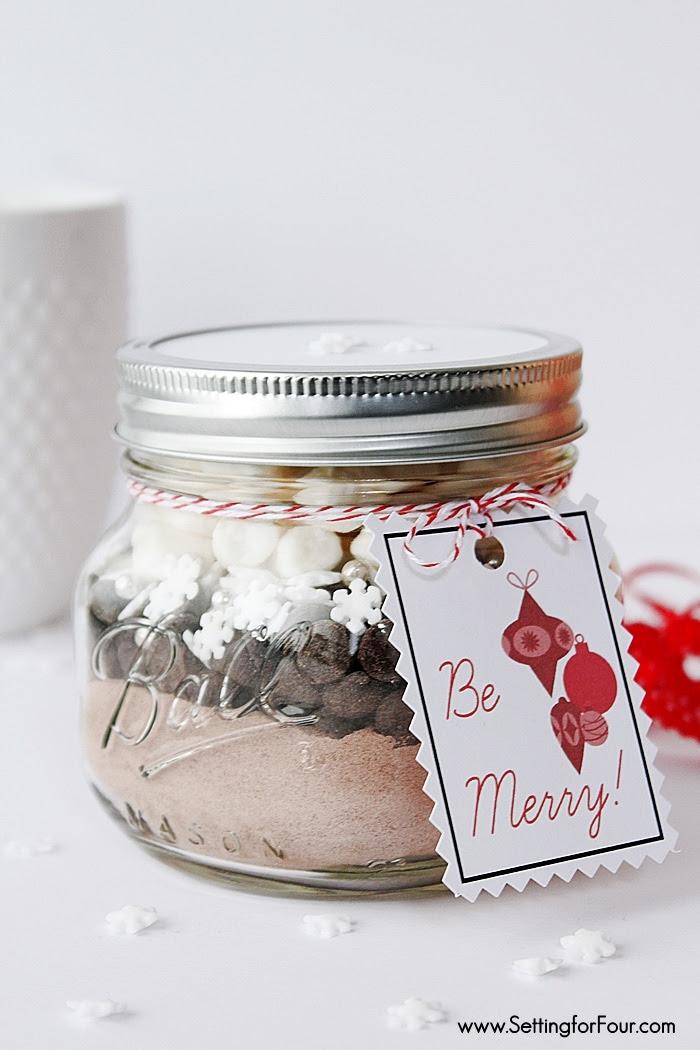 Mason Jar Gift Idea Hot Chocolate With Free Pintable Tag Yellow