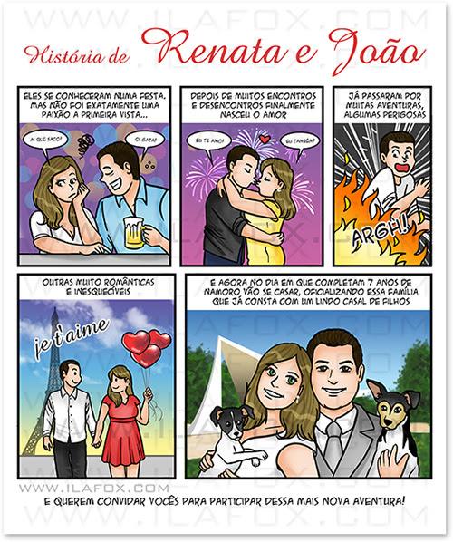 convite em quadrinhos personalizado, convite casal, convite para casamento, convite original, convite em quadrinhos, convite historia noivos, by ila fox