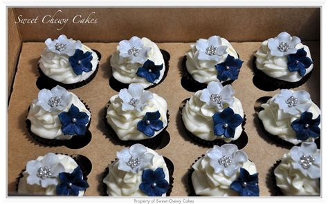 Silver and Navy Blue cuppies   Cupcakes   Blue wedding