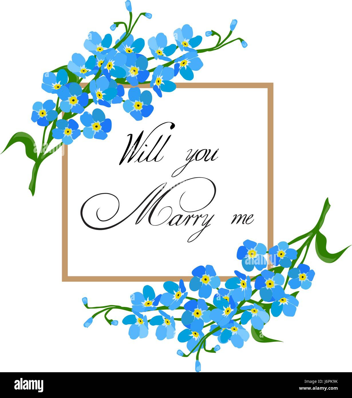 Vector Illustration Of A Floral Frame Will You Marry Me Card Stock