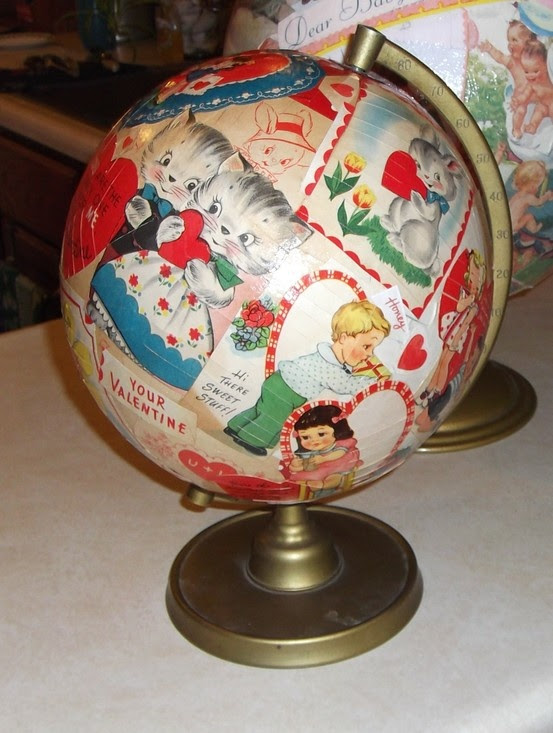 madame xereta: globe découpaged with vintage Valentines