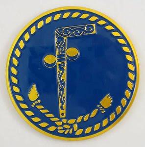 Um emblema maçônico que descreve dois bailes e uma bengala ... Tubal Cain.