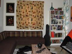 "Guest Bedroom - Velvet Matador Paintings, ""OEM"" Antique Car Curtains & uh, Bookshelf"