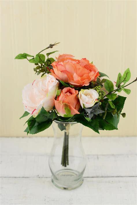 Rose Bouquet Peach 12in
