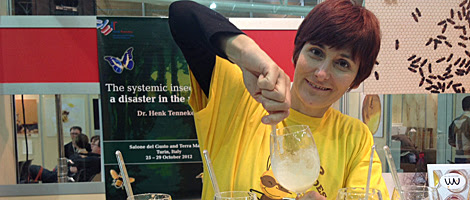 La apicultora valenciana María José Pastor, en su puesto del Honey Bar. | C. F.