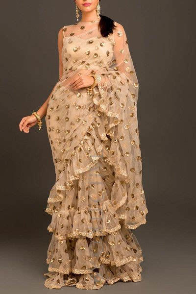 sequins embroidery net wedding saree ruffled border indian