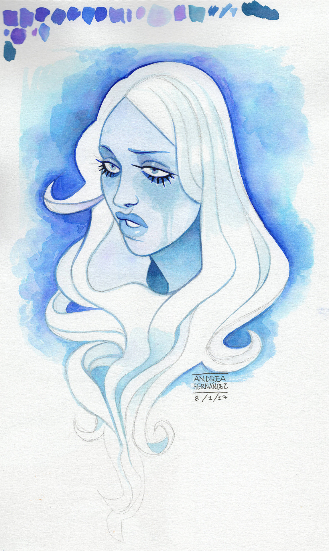 Watercolor Blue D ~ Sorry for the bad quality, I wish I could scan it Please, don't use or repost without permission ;-) Por favor, no lo uses o re-postees sin mi permiso ;-)
