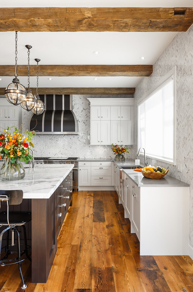 Kitchen Backsplash Ideas. Kitchen Backsplash. Full height marble herringbone tile backsplash. #Backsplash #Kitchen #MarbleBacksplash #Herringbonebacksplash   Astro Design Center.