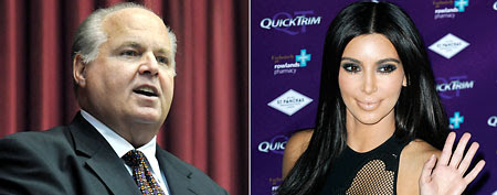 Dumbest political quotes of the week. Here, conservative commentator Rush Limbaugh and Kim Kardashian (AP Photos)