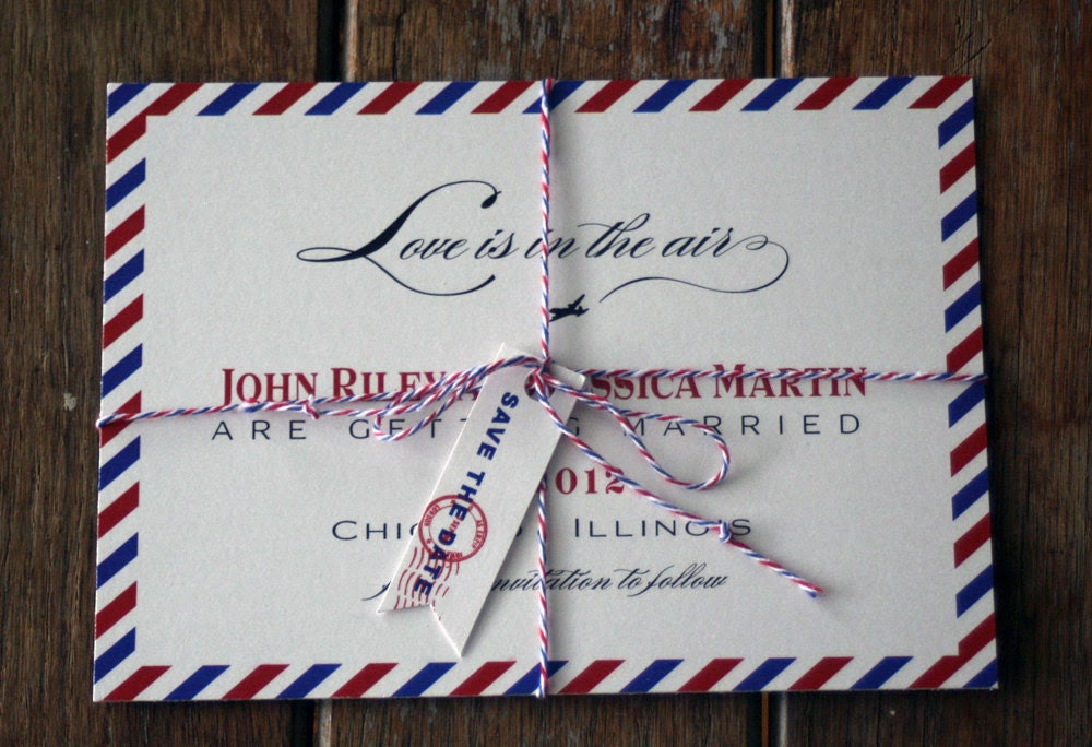 Beth Cote Vintage Air Mail Save the Date Custom