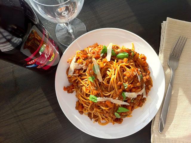 Lentil Marinara Sauce with Spaghetti Pasta Overhead