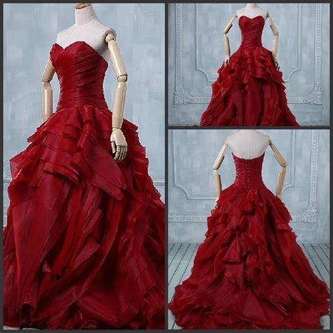 2017 Design Fashion Unique Fold Organza Red Ball Gown