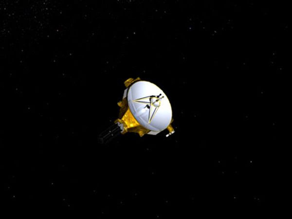 An artist's concept of NASA's New Horizons spacecraft traveling through deep space.
