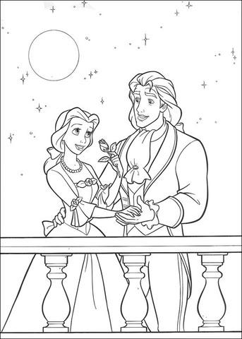 Dibujo De El Príncipe Y La Princesa Bella Para Colorear Dibujos