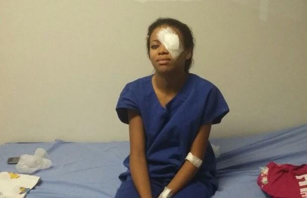 Daniely Veras passa por cirurgia no olho esquerdo em Goiânia, Goiás (Foto: Arquivo pessoal/ Marco Valério)