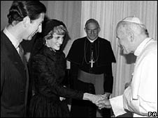 Prince Charles and Diana in a private audience with Pope John Paul II, 1985