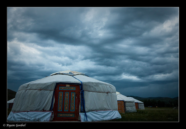 Dusk at the Ekh Baigali ger camp