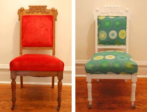 Eastlake Parlor Chair Redo -- Before/After
