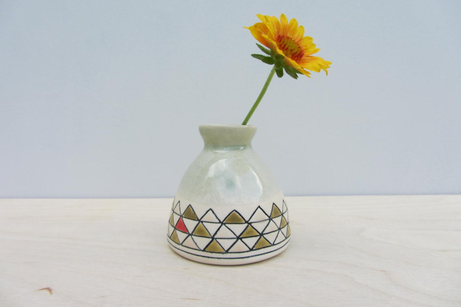 Ceramic Triangle Patterned Bud Vase in Sage Green