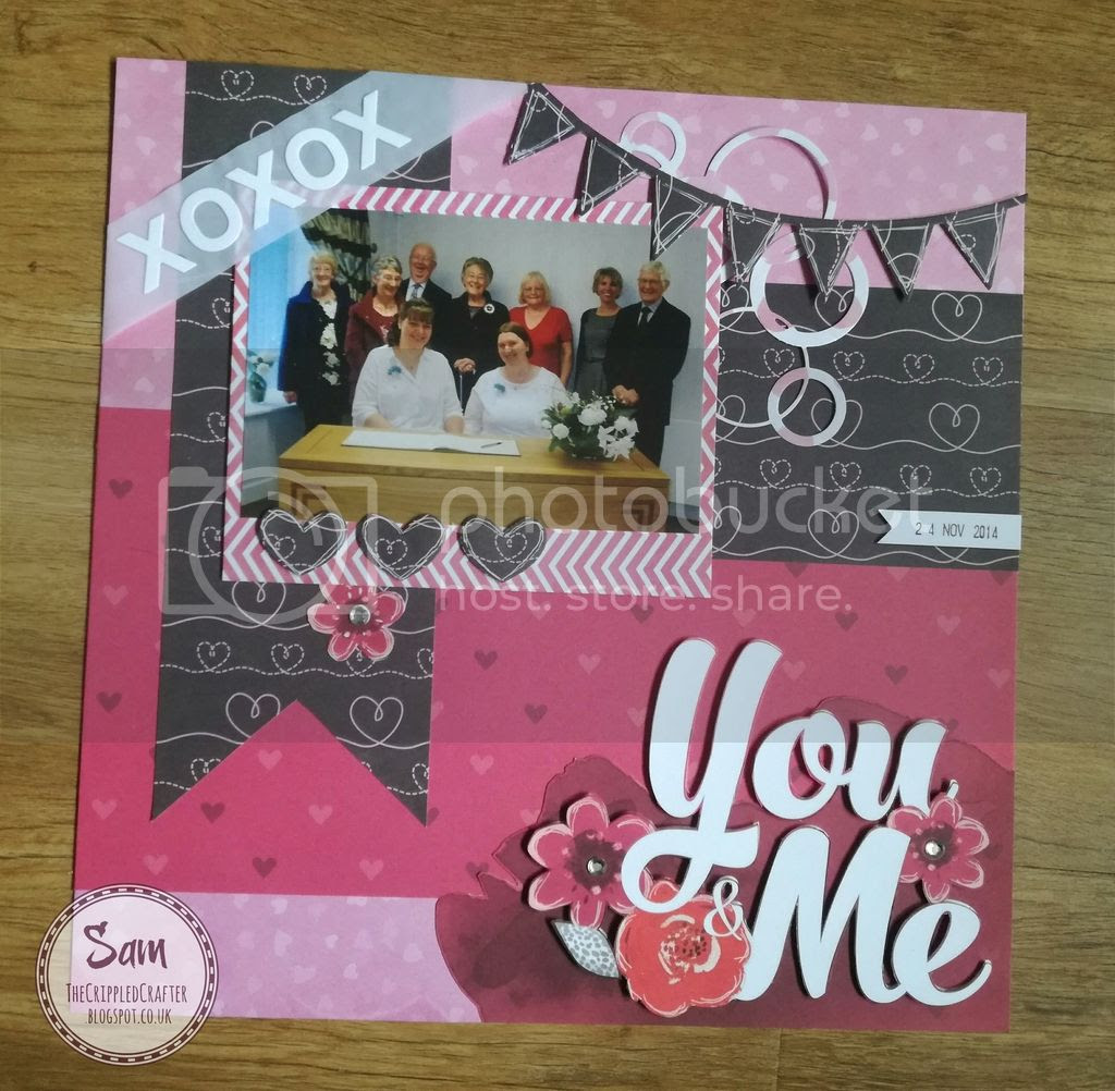 Scrapbook page by Sam Lewis AKA The Crippled Crafter. Features Sara Davies Love & Romance collection.