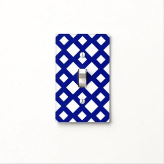 White Diamonds on Navy Switch Plate Covers