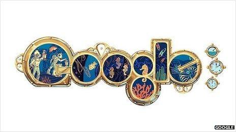 Google Jules Verne doodle